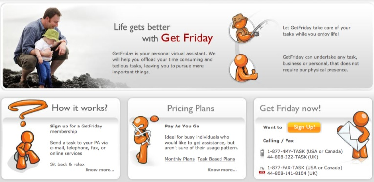 Get Friday - Home page snapshot